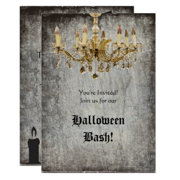 Halloween Themed Gold Chandelier Halloween Party Card