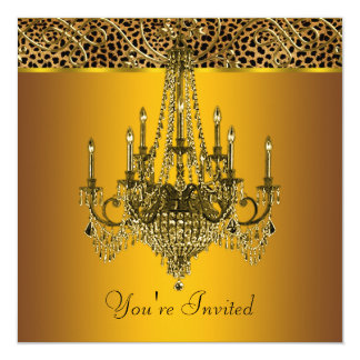 Gold Chandelier Leopard Party Invitations