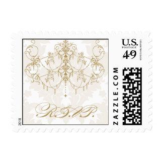 Gold chandelier on damask background RSVP Postage