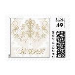 Gold chandelier on damask background RSVP Postage Stamp