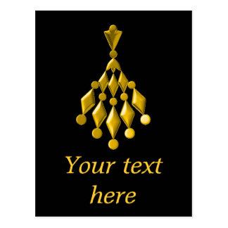 Gold chandelier postcard