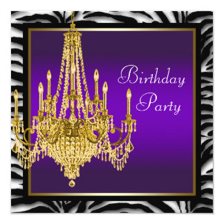Gold Chandelier Purple Zebra Birthday Party Card