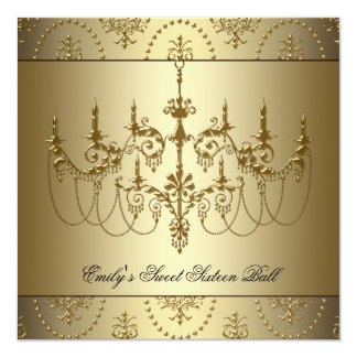 Gold Chandelier Sweet Sixteen Party 5.25x5.25 Square Paper Invitation Card