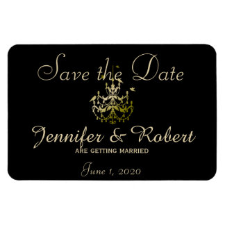 Gold Chandeliers Black Posh Wedding Save the Date Magnet
