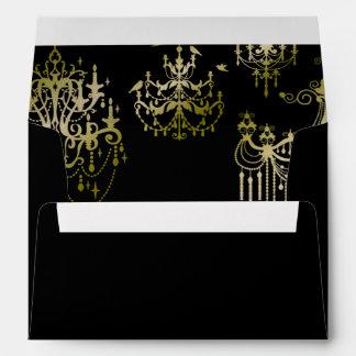 Gold Chandeliers on Black Posh Wedding Envelope