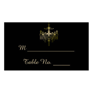 Gold Chandeliers on Black Posh Wedding Place Cards Business Card