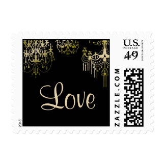 Gold Chandeliers on Black Posh Wedding Postage