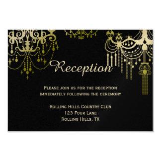 Gold Chandeliers on Black Posh Wedding Reception Custom Invite