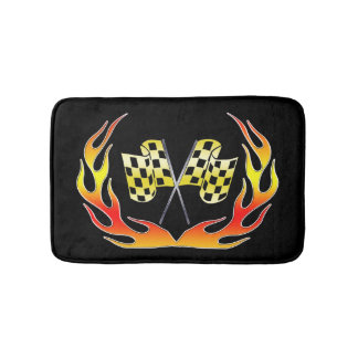 Gold Checkered flag and flames Bathroom Mat