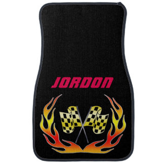 Gold Checkered flag and flames Car Floor Mat