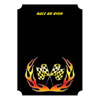 Gold Checkered flag and flames 5x7 Paper Invitation Card