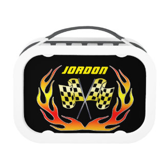 Gold Checkered flag and flames Lunch Box