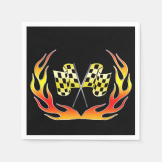 Gold Checkered flag and flames Napkin