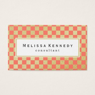Professional Business Gold Checkered Pattern Business Cards Coral