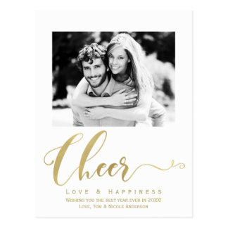 Gold Cheer Holiday New Years Photo Invitation Postcard