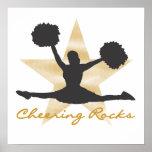 Gold Cheering Rocks T-shirts and Gifts Print