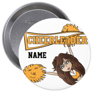 Gold Cheerleader Cute Girl | Personalize Pinback Button