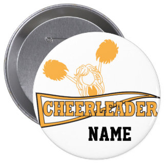 Gold Cheerleader Girl | Personalize Pinback Button