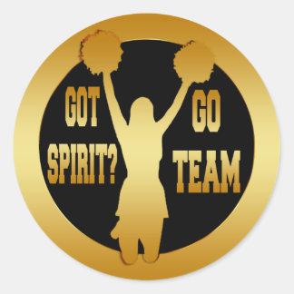GOLD CHEERLEADER SPIRIT CLASSIC ROUND STICKER