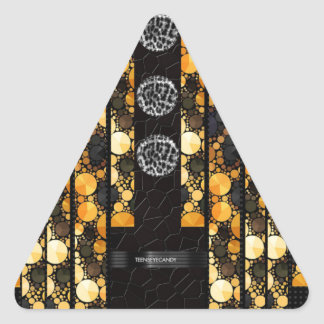 Gold Cheetah Bling Triangle Sticker