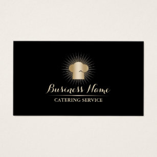 Catering service business cards templates zazzle gold chef hat personal chef catering service business card reheart Image collections