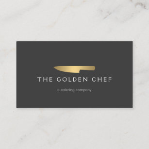 gold chef knife logo 2 for catering restaurant business card