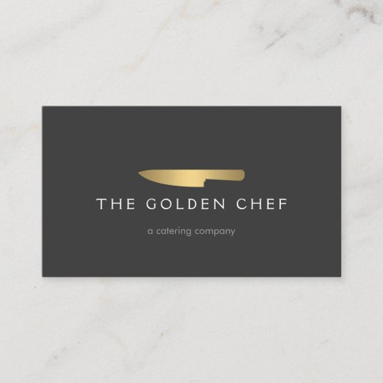 gold chef knife logo 2 for catering restaurant business card - Restaurant Business Card
