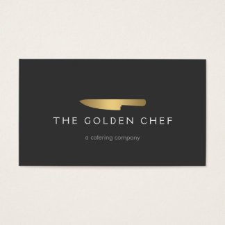 Gold Chef Knife Logo 2 for Catering, Restaurant Business Card