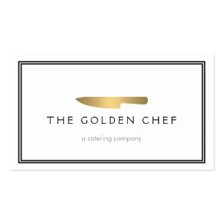 Gold Chef s Knife Logo for Catering Restaurant Business Card Template