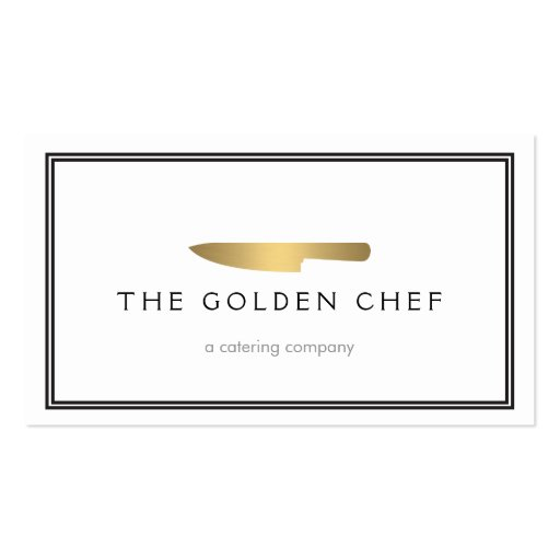 Gold Chef's Knife Logo for Catering, Restaurant Business Card Template