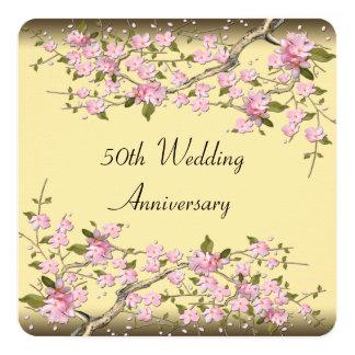 Gold Cherry Blossom 50th Anniversary Party 5.25x5.25 Square Paper Invitation Card
