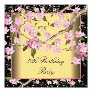 Gold Cherry Blossom Womans 50th Birthday Party Invite
