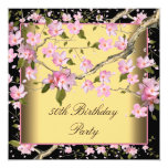Gold Cherry Blossom Womans 50th Birthday Party Invitation