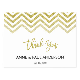 Gold chevron and white Thank You Card