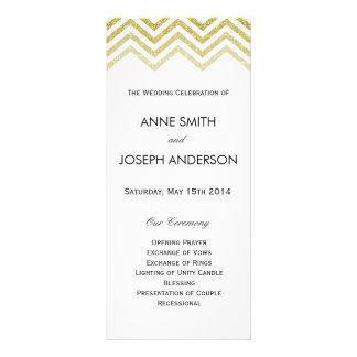 Gold chevron and white wedding program
