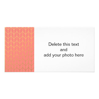 Gold Chevron Coral Pink Background Modern Chic Card