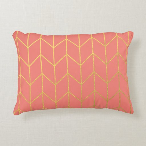 Modern Chic Pillows : Gold Chevron Coral Pink Background Modern Chic Decorative Pillow Zazzle