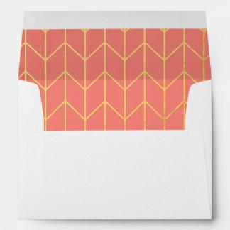 Gold Chevron Coral Pink Background Modern Chic Envelopes