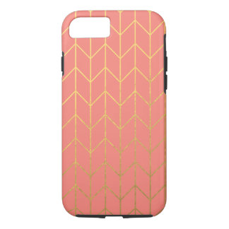 Gold Chevron Coral Pink Background Modern Chic iPhone 8/7 Case