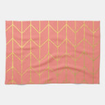 Gold Chevron Coral Pink Background Modern Chic Hand Towels
