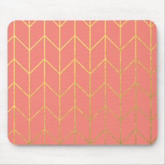 Gold Chevron Coral Pink Background Modern Chic Mouse Pad