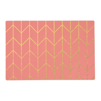 Gold Chevron Coral Pink Background Modern Chic Placemat
