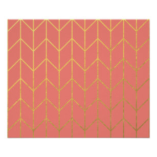 Gold Chevron Coral Pink Background Modern Chic Poster