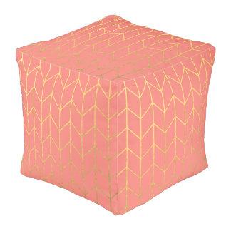 Gold Chevron Coral Pink Background Modern Chic Pouf