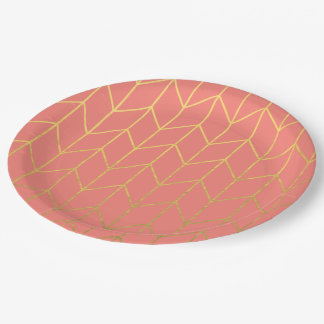 Gold Chevron Coral Pink Background Modern Chic 9 Inch Paper Plate