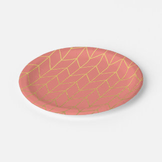 Gold Chevron Coral Pink Background Modern Chic 7 Inch Paper Plate
