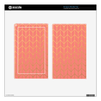 Gold Chevron Coral Pink Background Modern Chic Decal For Kindle Fire
