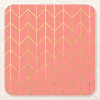 Gold Chevron Coral Pink Background Modern Chic Square Paper Coaster