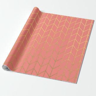 Gold Chevron Coral Pink Background Modern Chic Wrapping Paper