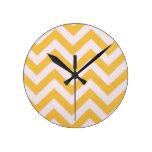 Gold Chevron Design Round Wall Clocks